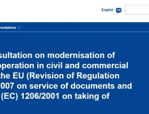 Consulta Pública sobre a Modernização da Cooperação Judiciária em Matéria Civil e Comercial na UE
