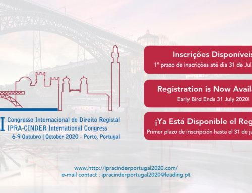 XXII Congresso Mundial de Registos IPRA CINDER Portugal 2020